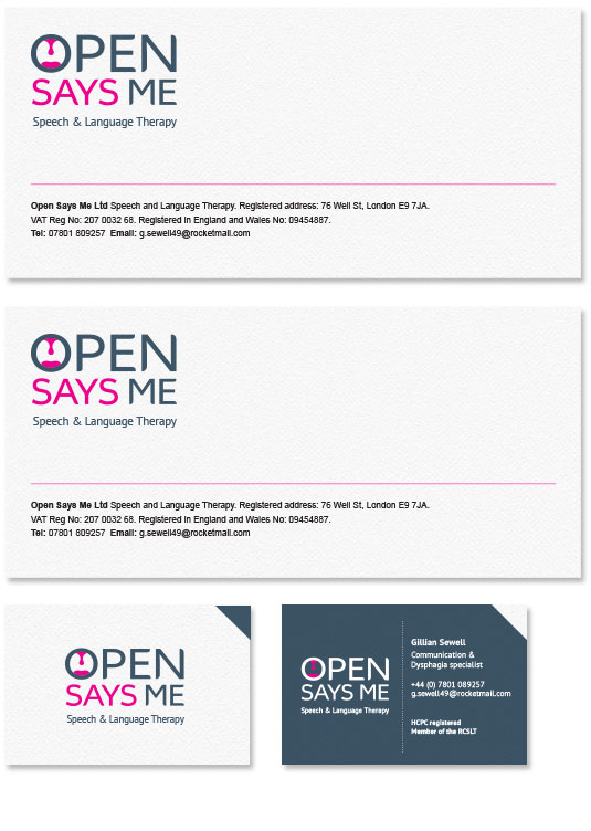 Open Says Me Speech and Language Therapy stationery