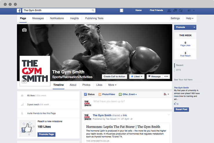 The Gym Smith Facebook set-up and branding