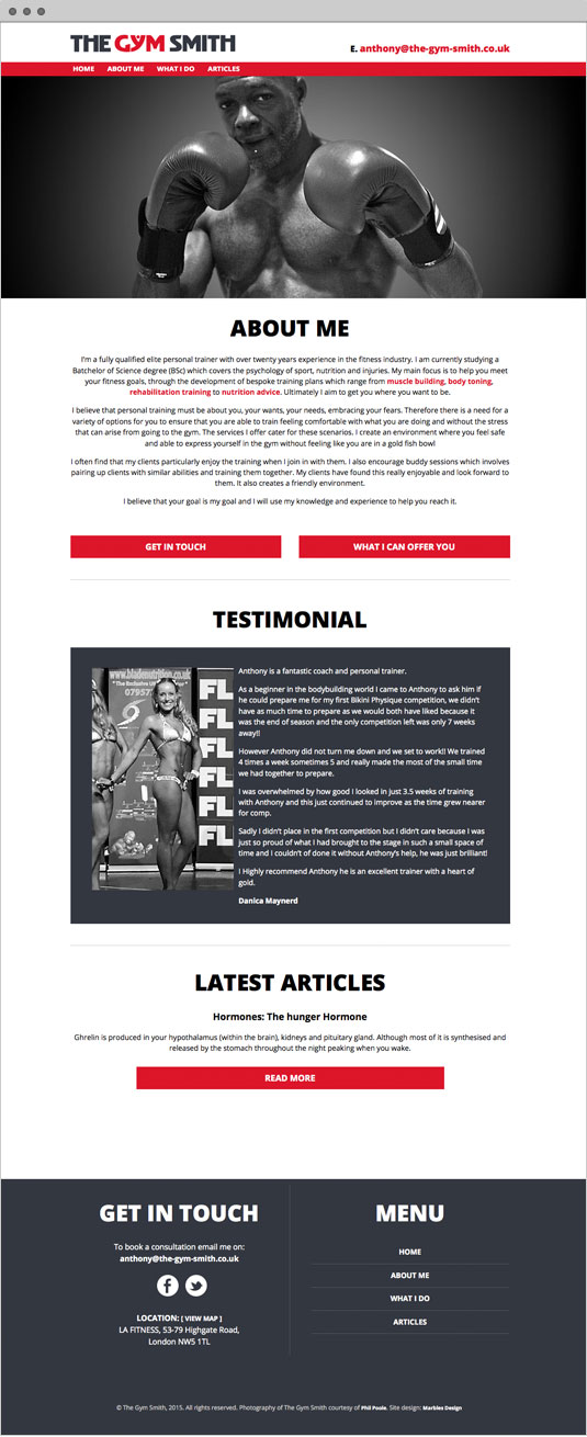 The Gym Smith responsive Wordpress website